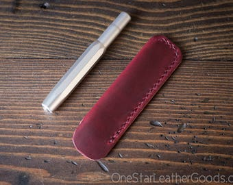 Kaweco Sport pen sleeve - hand stitched Horween Chromexcel leather - red