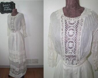Antique Dress / c1900s Dress / Antique Lace Dress / Edwardian Dress / Victorian Dress / Wedding Dress / Hand Made / Embroidery / Bobbin Lace