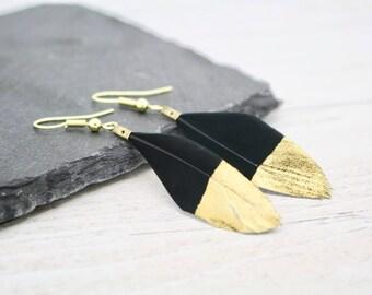 Gold Dipped Black Feather Earrings, Bohemian Earrings, Boho Style Jewellery, Festival Fashion, Festival Earrings, Black Earrings