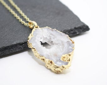 Druzy Geode Jewellery, Crystal Geode Necklace, Druzy Geode Necklace, Geode Jewelry, Druzy Necklace, Mother Gift, Unique Necklace