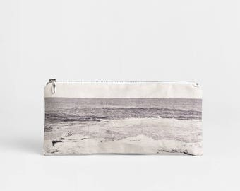 50% OFF Canvas pencil case - Gray makeup bag - Printed seascape zip pouch - Vegan pencil pouch - Small Student Gift - Nature Lover Gift
