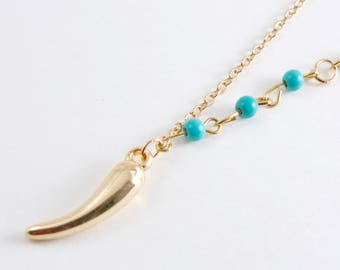 "Gold Italian Horn Lariat Necklace, Boho Chic Y Shaped Necklace, Gold Plated and Green Turquoise, 49cm(19-1/4"")"