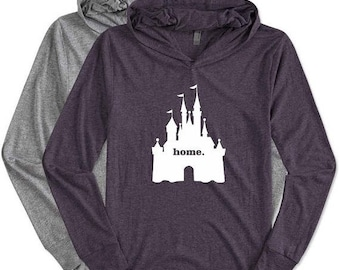 Christmas in July Sale Home with Castle. Lightweight UNISEX Hoodie. Park Day. Workout Hoodie. Cover up. Lounge Wear.