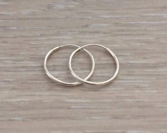 Sterling Silver Endless Hoops, Hoops, Cartilage Earring, Nose Ring, Thin Hoops, 925 Sterling Silver