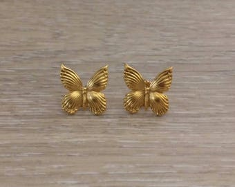 Gold Studs, Butterfly Earrings, Bug Studs, Animal Earrings