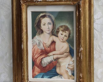 Vintage Religious VIRGIN MARY Child Jesus Catholic Christian Distressed Gold Painted Wood Framed Print MADONNA 8 by 6 inches