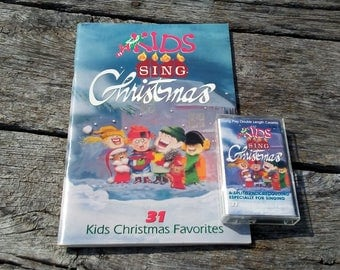 Vintage Kids Sing Christmas 31 Kid's Christmas Favorites Sung By Kids Cassette Tape and Song Book 1987 Sheet Music for Christmas Carols