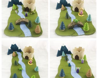 River Castle Playscape Play Mat wool felt Fountain princess storybook fairytale storytelling fantasy pretend play dollhouse peg doll