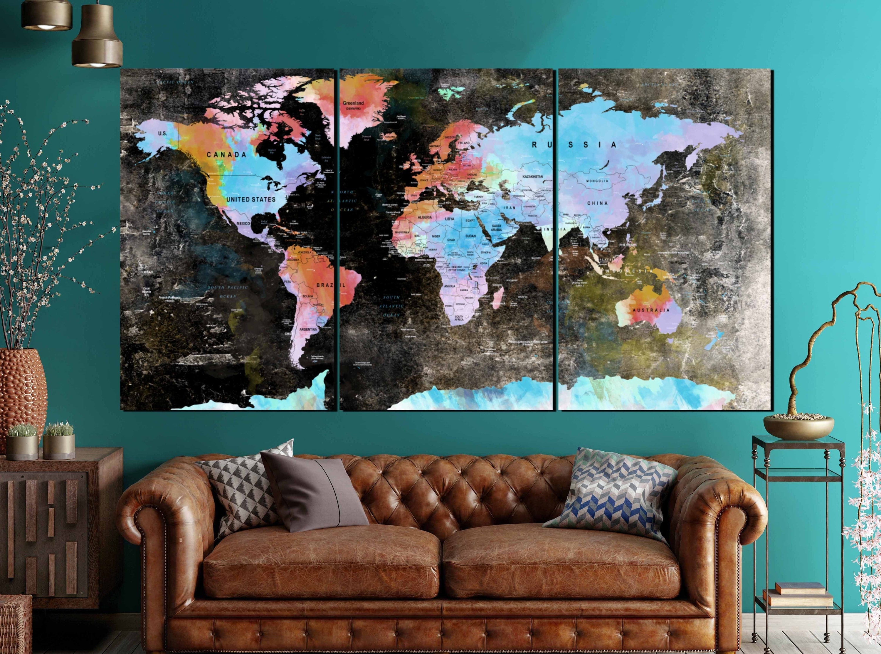 Large world map vintage canvas panelsworld mapworld map wall art large world map vintage canvas panelsworld mapworld map wall artworld map canvasworld map printworld map abstract watercolor artdecor gumiabroncs Image collections