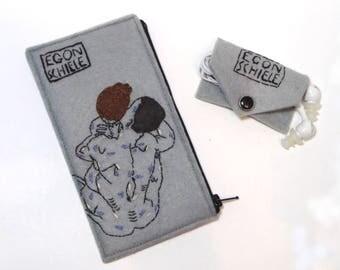 Egon Schiele set of accessories - vegan wallet + earbud case