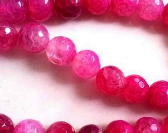"""Set of 4 agate beads """"dragon vein"""" roses, 10mm faceted"""