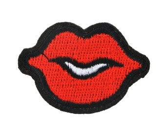 2 embroidered appliques hot-melt, mouth - 4.8x3.5cm