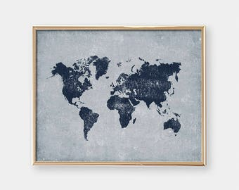 Printable Wall Art - World Map - Office Art - Distressed Navy Blue and Grey - Housewarming Gift - Art Print - Horizontal - SKU#7155