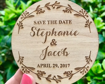 Save-the-Date Magnets, Laurel Wreath Wedding Save the Date Magnet, Wooden Save the Date Magnet, Rustic Save the Date, Rustic Wedding Invite