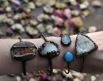 raw, Druzy agate bracelet, electroformed bracelet, electroformed jewelry, earthy jewelry, bohemian gypsy, druzy stone