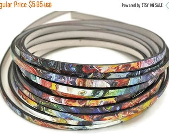 ON SALE 5MM Flat Starry Night Inspired - High Quality Leather Cord - Made in Eu - Qty. 2ft/24""