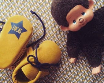 LITTLE MOC MUSTARD / Baby moccasins customizable