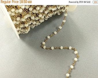 40% OFF 1 Foot 4mm Faceted Round Moonstone Crystal Glass Gold Plated Wire Wrapped chain - Rosary Beaded chain - CH209