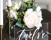 Acrylic Wedding Table Numbers with Stands, Rustic Table Numbers, Calligraphy Table Numbers, Rustic Wedding, Modern Wedding