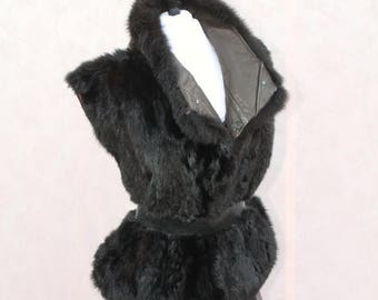 Sexy Summer Sale 80's Rich Authentic Black New Zealand Opossum Fur Sleeveless Vest/Jacket by Andrew Marc size L