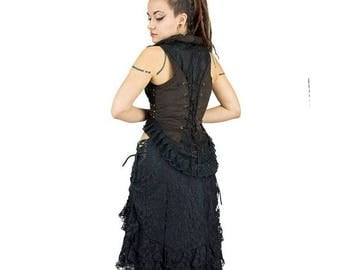 ON SALE No sleeves jacket, steampunk shrug, vest, victorian, burlesque, with big frills neck, corset at back, decorate with lace and rivets,