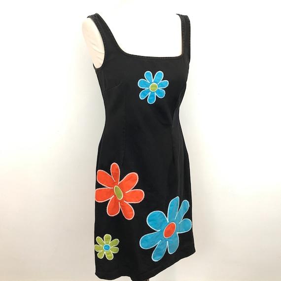 Vintage Moschino dress 90s body con black denim daisy applique nu wave club kid cotton twill 1990s short UK 12 kawaii