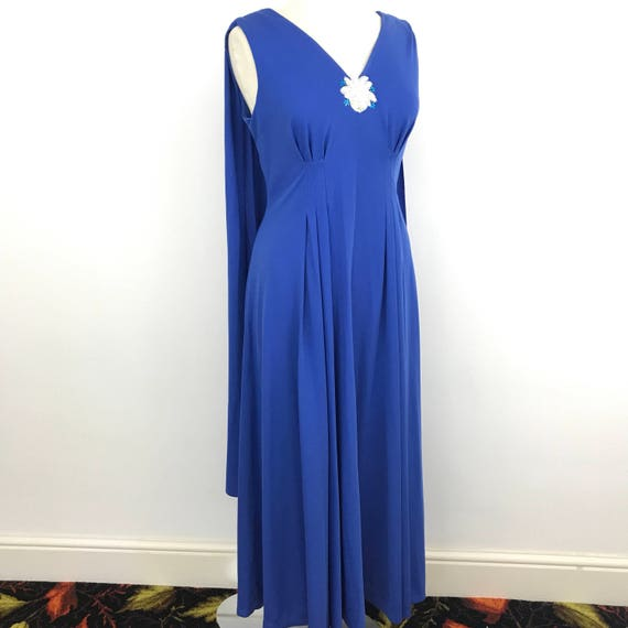 Vintage Grecian 1970s dress royal blue silky polyester jersey ruched drape maxi dress UK 14 Carnegie 70s evening disco party train trailing