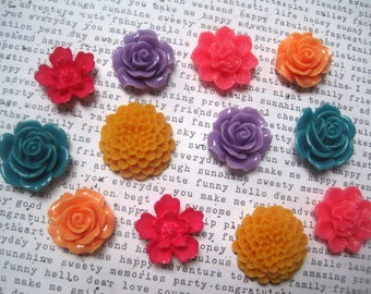 Fun Colored Magnets, 12 pc Flower Magnets, Pink, Purple, Orange, Teal, Hostess Gifts, Wedding Favors