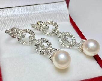 Vintage Pearl Diamond Dangle Earrings l 14KT White Gold Earrings