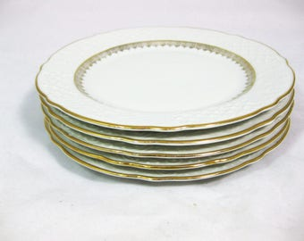 German Porcelain Luncheon Plates, Bavarian China Luncheon Plates, US Zone Bavaria,set of 5, Gold Trimmed Plates
