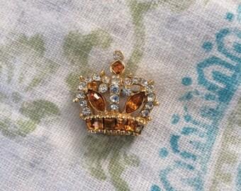Rhinestone crown brooch