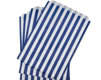 Navy Striped Paper Bags