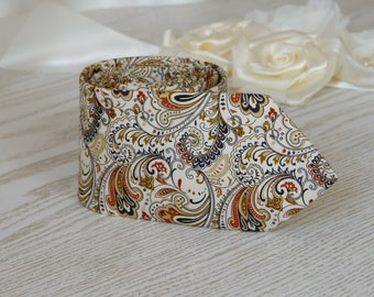 Mens Tie Champagne Antique Cream Paisley  Necktie With Matching Pocket Square  Honey Cream Tan Paisley   Wedding Ties   Necktie  FREE GIFT