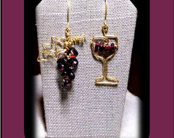 Garnets, GarnetEarrings,wine lovers gift,wine jewelry,girlfriend gift, daughter gift,bartender gift,wife gift