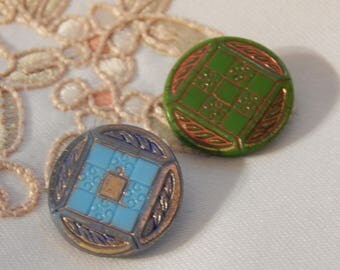 Checker Board Pattern Vintage Glass Buttons - 2