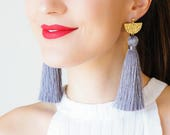 Tassel Earrings Statement Earrings Gold Earrings Hammered Brass Earrings Long Earrings Dangle Earrings Gray Earrings Boho Earrings/  CHASSIO