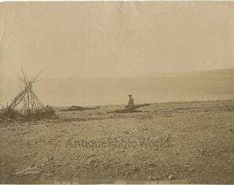 Man by Dead Sea Israel Palestine antique albumen photo