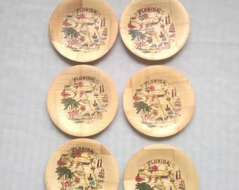 HAPPY15 (15% Off) Mid Century era Florida Souvenir Coasters, Set of 6, Made of Bamboo, Vintage Travel, Tourist