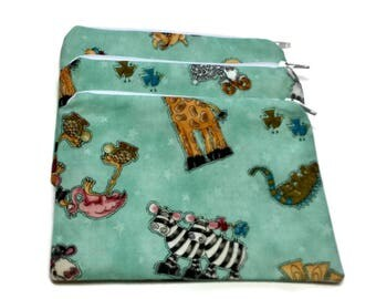 Reusable Snack Bags Set of 3 Zipper Mint Green Whimsical  Animals