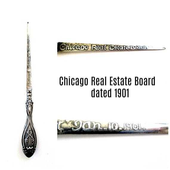 Antique Letter Opener, Dated 1901, Chicago Board of Real Estate, CBOR, Chicago Realtors, Chicago Real Estate