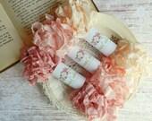 Seam Binding Ribbon / Hand Crinkled Seam Binding / 15 Yards / Shabby Chic Ribbon / Gift Wrapping / Rose Petal, Baby Pink, Cameo / Gift Wrap