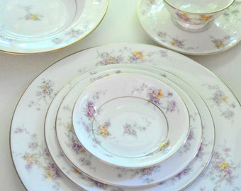 Theodore Haviland, Gloria, 8 Place Settings, Extras, 62 Pieces, Hand Painted FREE Shipping