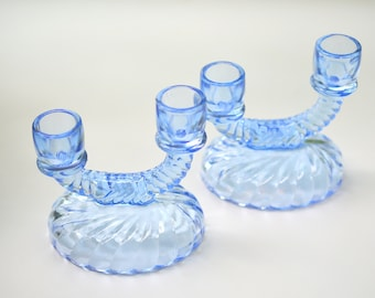 Blue Cambridge Glass Double Candle Holders Set of 2 (B)