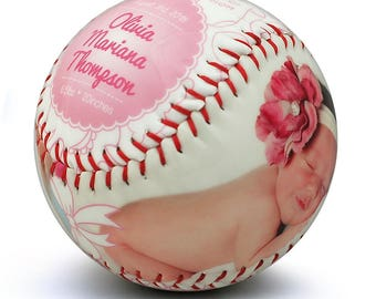 Baby Girl Birth Announcement - Custom Made Softball, Baby Girl Gift, Newborn Announcement, Softball Nursery, Newborn Stats, Sports Nursery