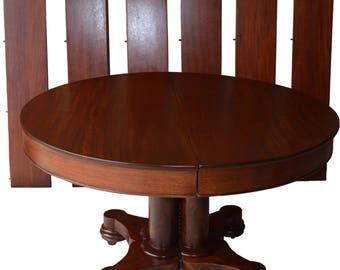 17055 Round Mahogany Empire Dining Banquet Table w/6 Leaves