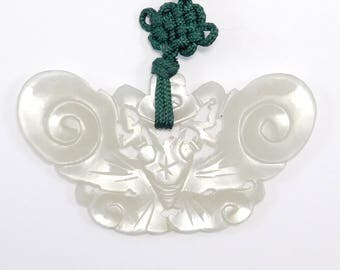 Beautiful Old Carved White Jade Butterfly Pendant Chinese