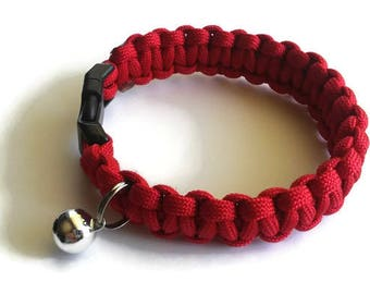 PawAcord Patriotic Single Color Paracord Cat Collar with Breakway Buckle and Bell- Cute Cat Collar - in Red, White OR Blue