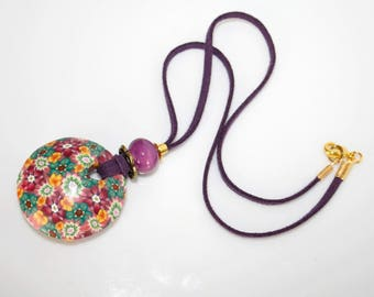 Necklace-polymer, pendant donut color purple-green-dark yellow