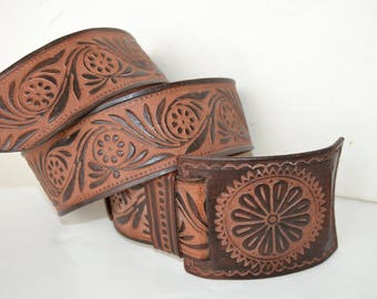 Engraved leather belt size 90, wide leather belt, brown leather belt