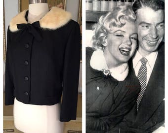 1950s Cropped Jacket by Adele California -- Made of Pure Italian Silk and Trimmed in Mink, in a Great Larger Size!